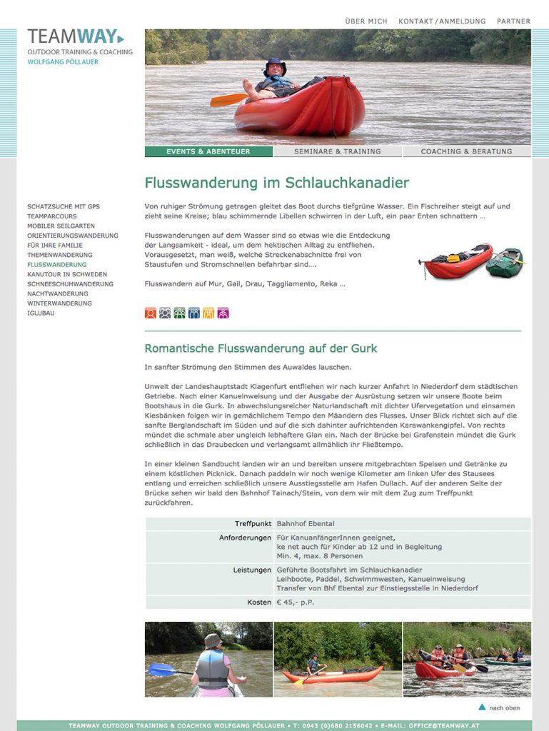 Teamway Website – Flusswanderung