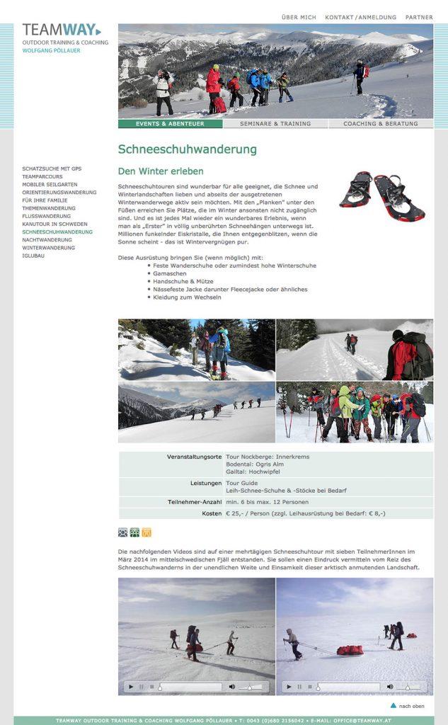 Teamway Website – Schneeschuhwanderung
