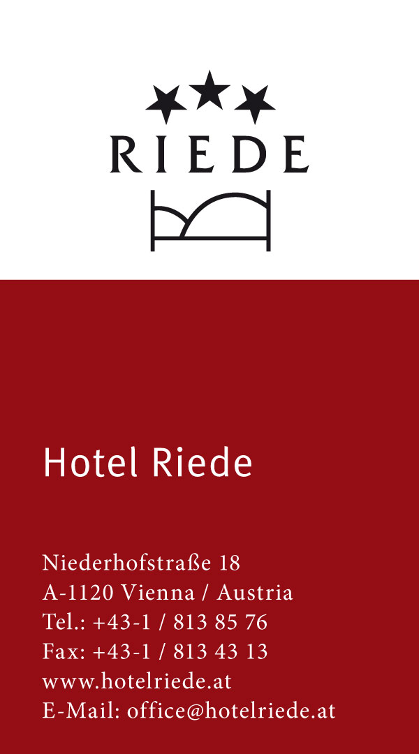 Hotel Pension Riede – Visitenkarte VS