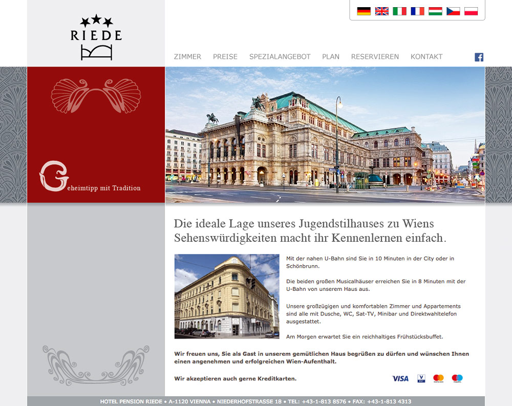 Website Hotel Pension Riede – Startseite