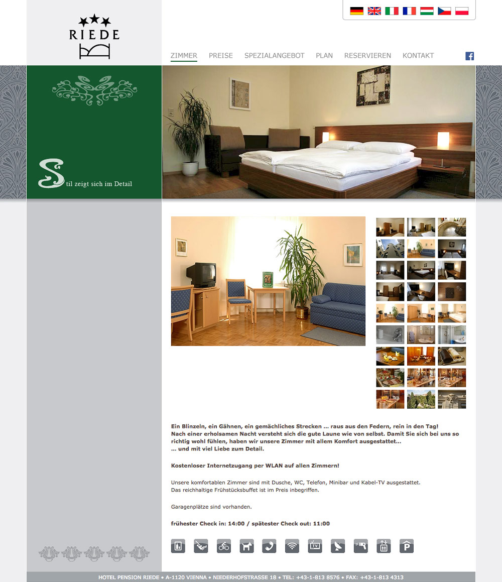Website Hotel Pension Riede – Zimmer