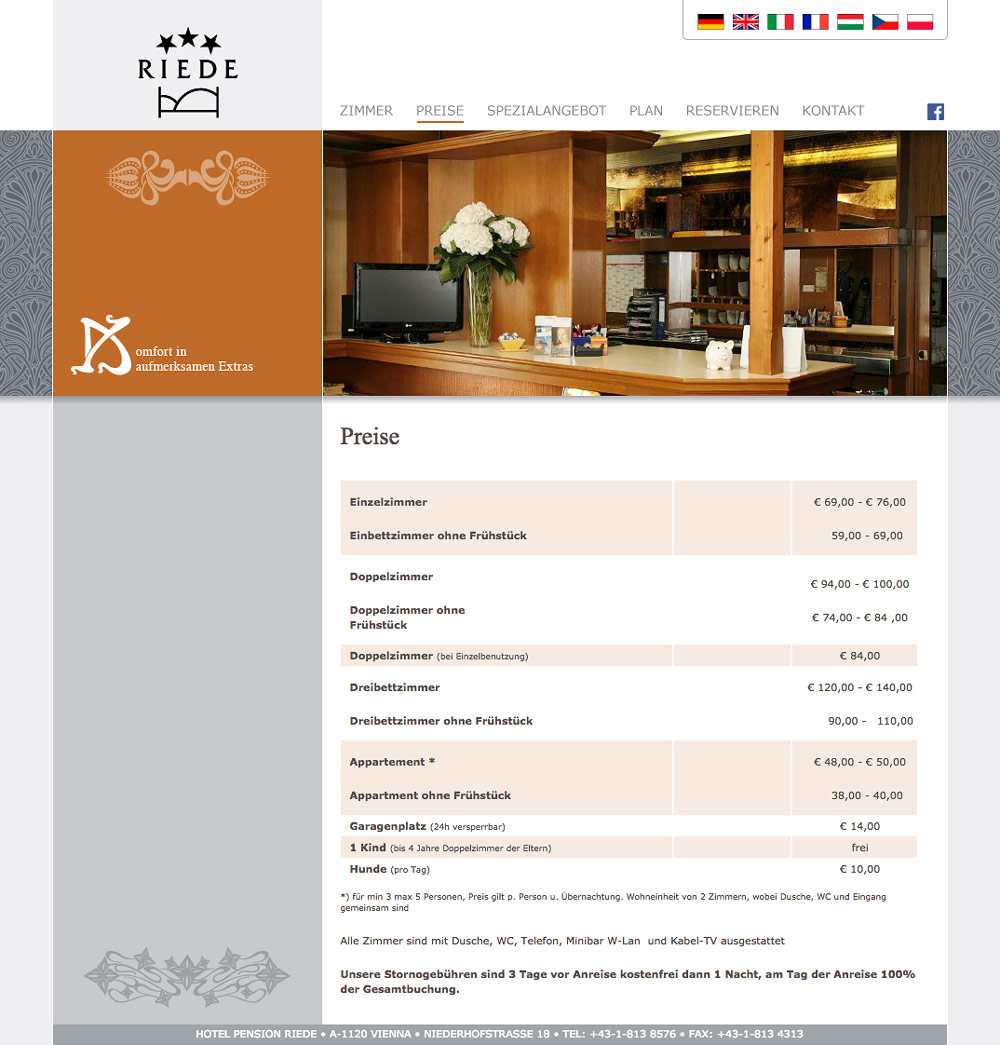 Website Hotel Pension Riede – Preise