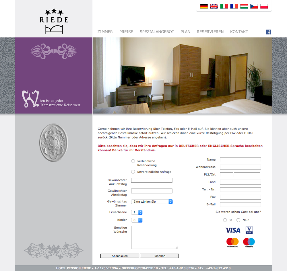 Website Hotel Pension Riede – Reservieren